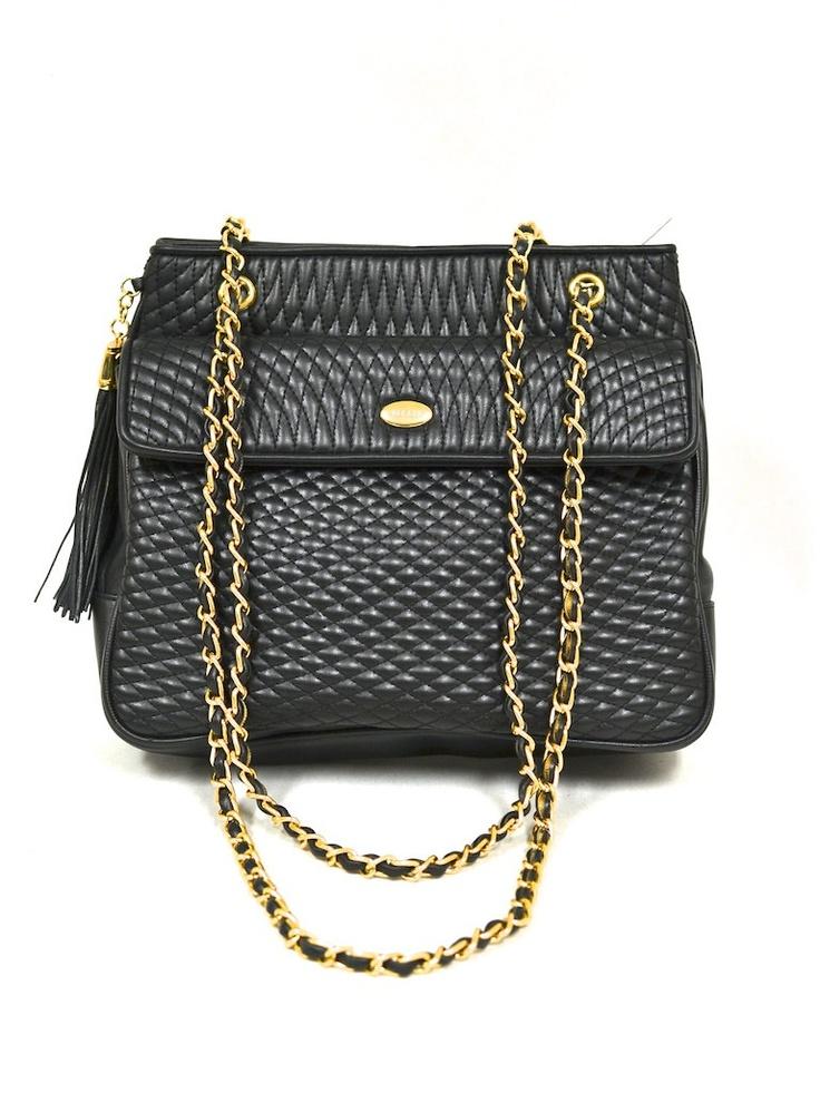 Vintage Quilted Faux Leather Shoulder Bag W Chain Strap Black