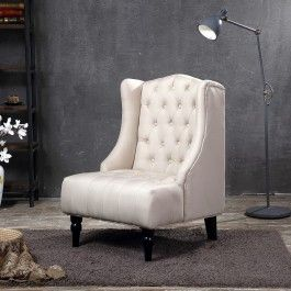 Modern Wingback Tufted NailHead Accent Chair Linen Tall Back Fabric Wing Chair | Bedroom Accent Chair | Bedroom Ideas | Bedroom Decor | Vintage Bedroom | Modern Bedroom | Bohemian Bedroom | Industrial Bedroom | Grey Bedroom | Accent Chair