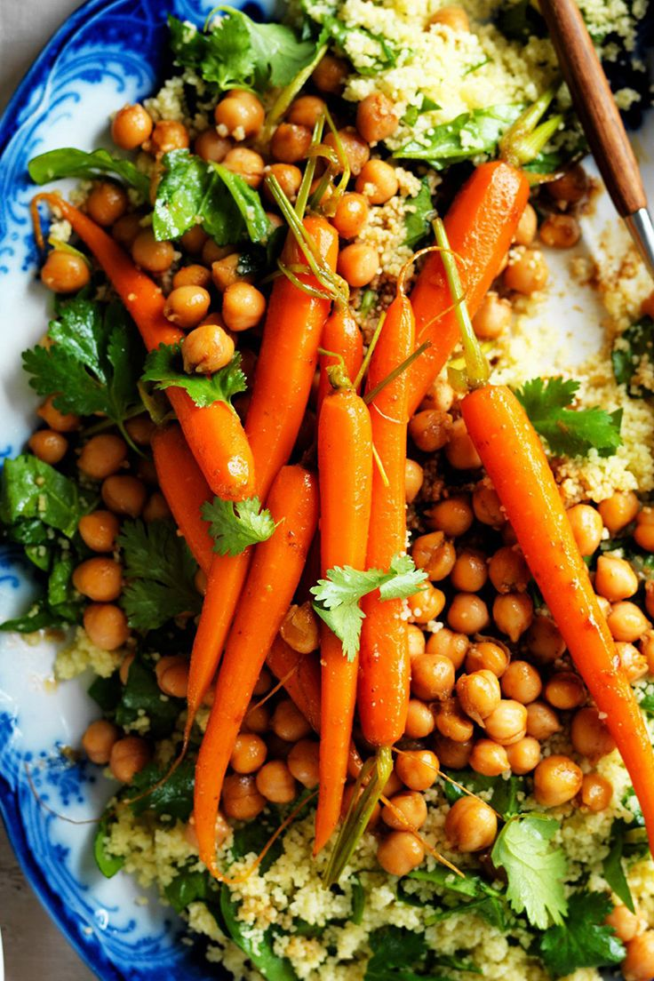 These Moroccan-spiced carrots and chickpeas are a wonderfully fragrant side to any main meal.