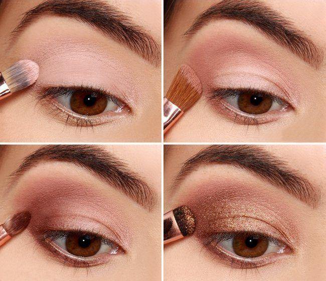 Бронзовый макияж для карих глаз. Шаг 1-4