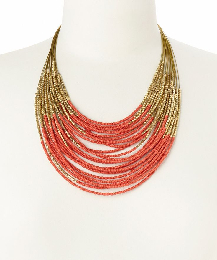 Gold & Coral Beaded Bib Necklace