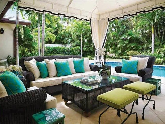Black Wickers Sofa Set By Sunbrella Outdoor Furniture With Pergola And Tile  Floor For Patio Decoration