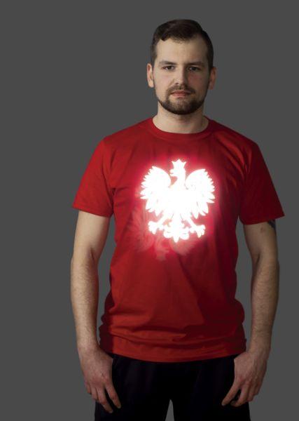 ODBLASKOWA KOSZULKA Z GODŁEM PROSTO NA EURO 2016 - Odblaskomat - Koszulki z nadrukiem