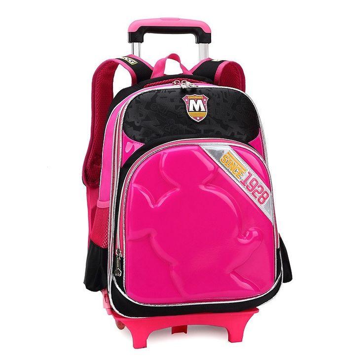 66.00$  Buy here - http://alishq.worldwells.pw/go.php?t=32536155188 - 2015 New Children School Bags Girls & Boys Kids travel trolley Backpack with wheels mochila infantil rodinha wheeled book bag 66.00$