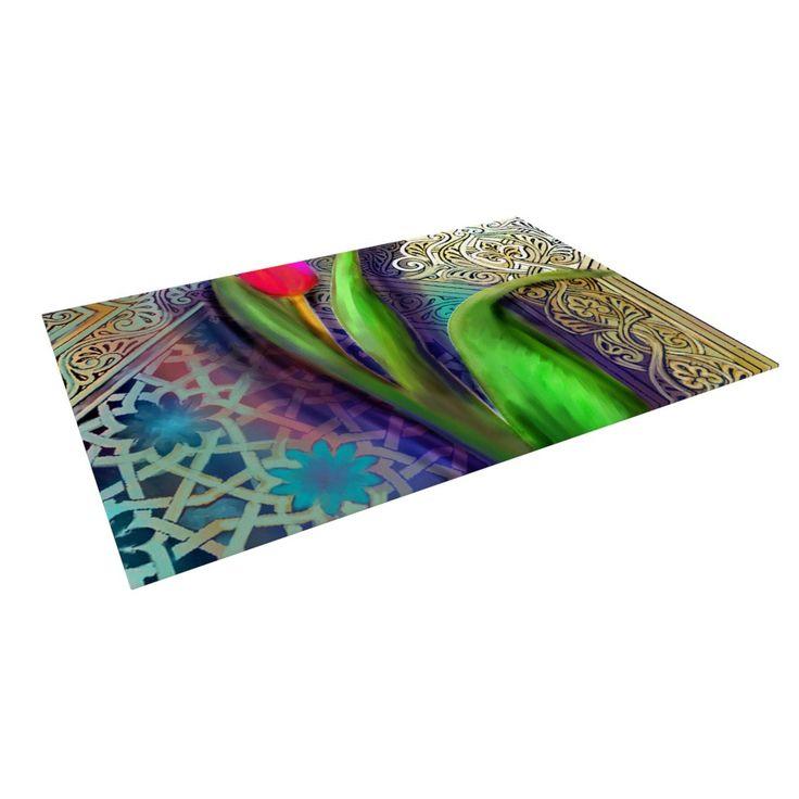"""S. Seema Z """"Arabesque Tulip"""" Green Gold Indoor / Outdoor Floor Mat"""