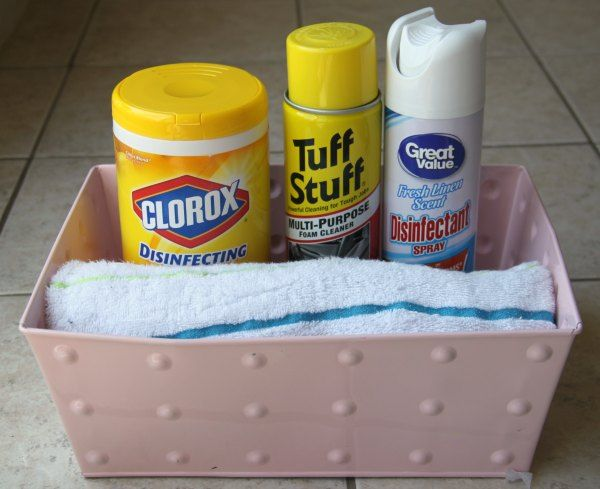 Keep a cleaning bucket ready for potty training!