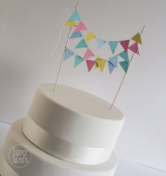 Colorful Banner Cake Topper Birthday Party Birthday cake