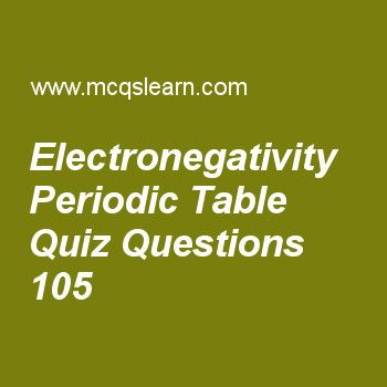 Learn quiz on electronegativity periodic table, chemistry quiz 105 to practice. Free chemistry MCQs questions and answers to learn electronegativity periodic table MCQs with answers. Practice MCQs to test knowledge on electronegativity periodic table, quantum theory, what is spectrum, ideal gas constant, classification of solids worksheets.  Free electronegativity periodic table worksheet has multiple choice quiz questions as electro negativity is related to ionization energy of element…