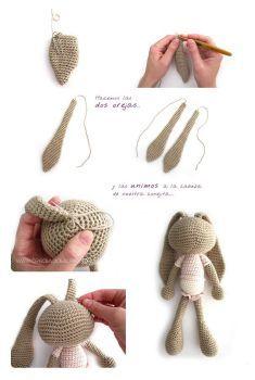 como hacer un peluche de crochet conejita amigurumi orejas largas- Tutorial DIY paso a paso y patrón gratis