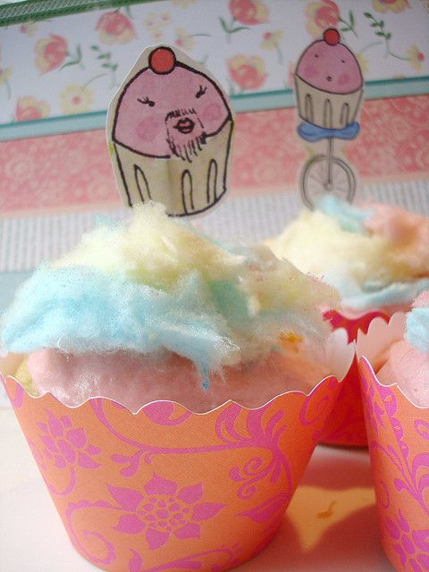 Cotton Candy Cupcakes by cakespy, via Flickr.    Is there anything more happy than this?