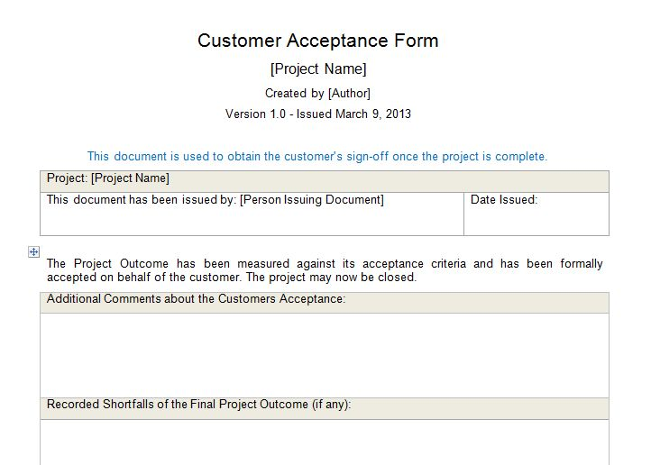 Customer Acceptance Form Download for Project Management