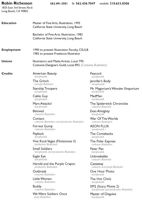 38 best Arts Resume\/Portfolio list images on Pinterest Artist - film production resume