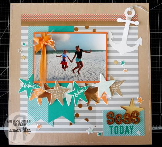 Scrapbook page by Susan Liles. Reverse Confetti stamp set and coordinating Confetti Cuts: You are a Star.