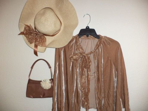 Victorian Dicken Edwardian Costume Hat Camel Velvet Cape Purse Accessories   eBay