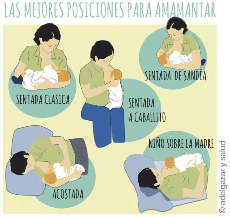 infografia de diferentes posiciones para dar de mamar, cómo producir más leche materna