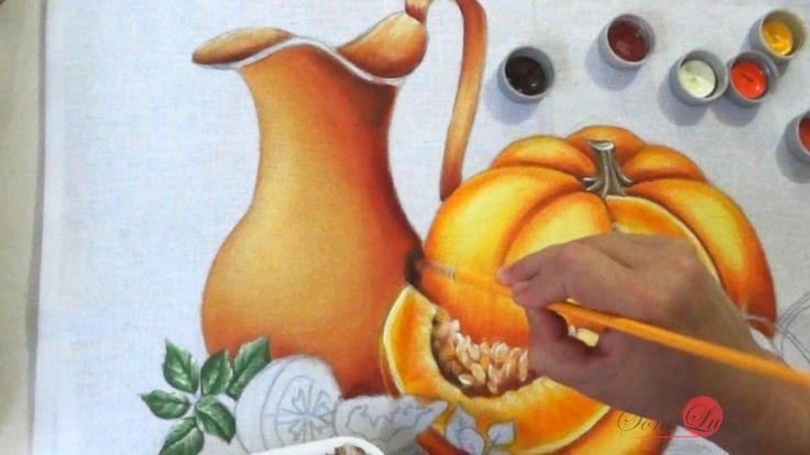 Jarro, Abóbora e Tomates em Tecido (Aula 58/ Parte 1)