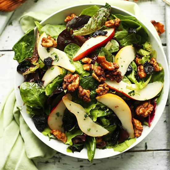 Incredibly flavorful, 30-minute pear balsamic salad with dried cherries and easy candied walnuts! A sweet and savory plant-based side or entrée.