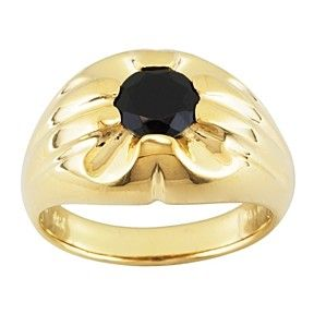 1.26 Ct Round Black Spinel 18K Yellow Gold Over Sterling Silver Gents Ring by JewelryHub on Opensky