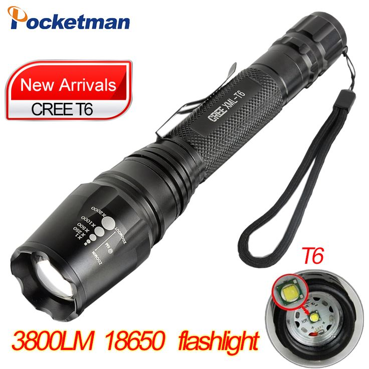 CREE XM-L T6 Led Flashlight 3800Lumens Led Torch Zoomable Waterproof Tactical self defense Flashlight for 2x18650 Camping Hiking