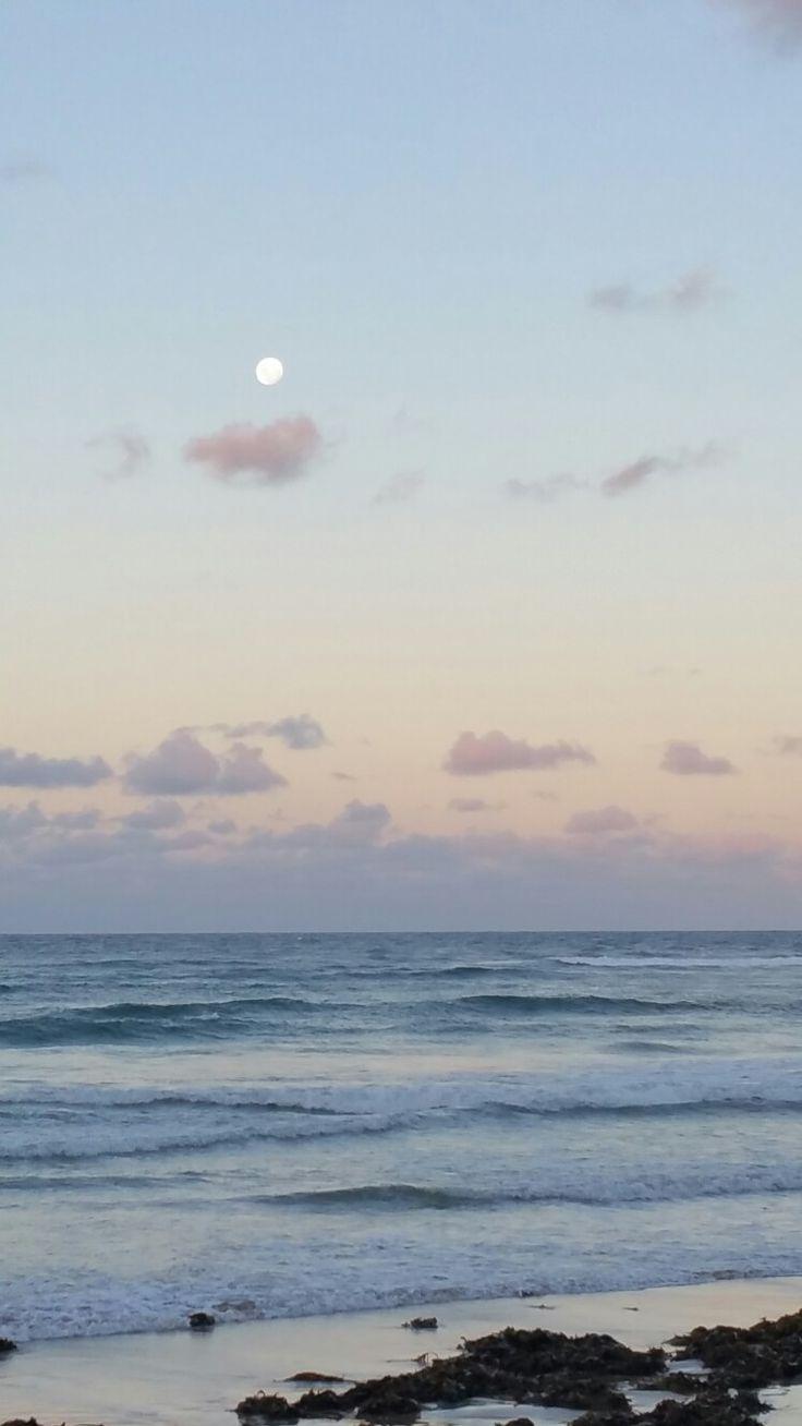 Moon over Brooms Head beach NSW