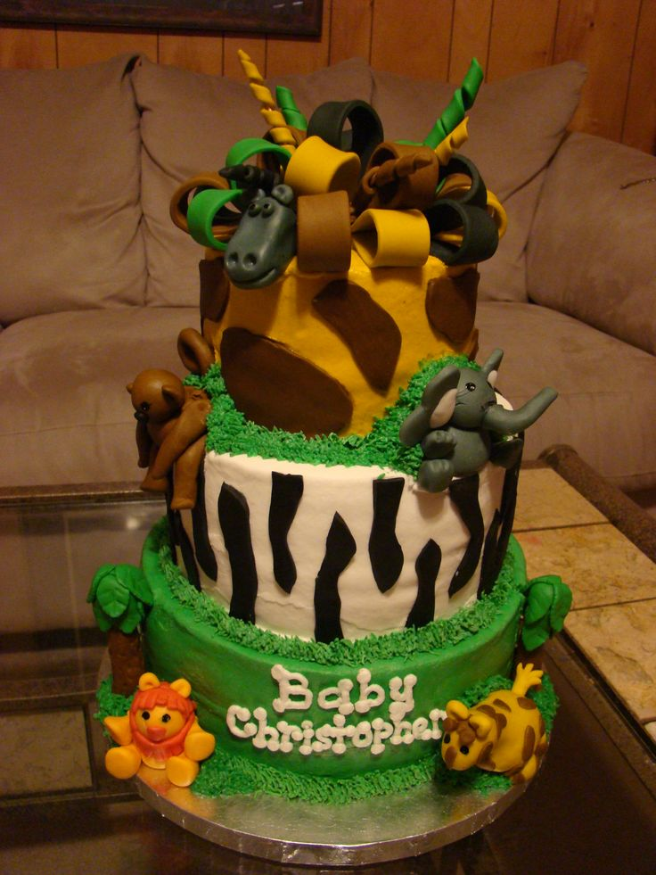 jungle baby shower cakes jungle safari tiered baby shower cake