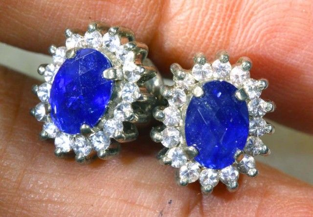 23.35 CTS GORGEOUS SAPPHIRE EARRING  SG-2406  sapphire  gemstone earrings , gemstone silver earrings