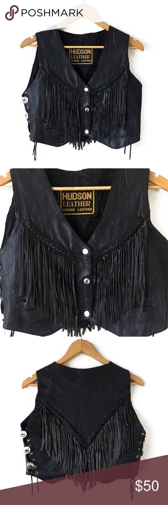 """90s VINTAGE GENUINE HUDSON LEATHER BIKER VEST 90s VINTAGE GENUINE HUDSON LEATHER BIKER VEST Excellent condition Size: S Fabric: Leather Length: 17"""" (top to bottom) Chest: 18"""" (armpit to armpit lying flat) Next Day Shipping Tops"""