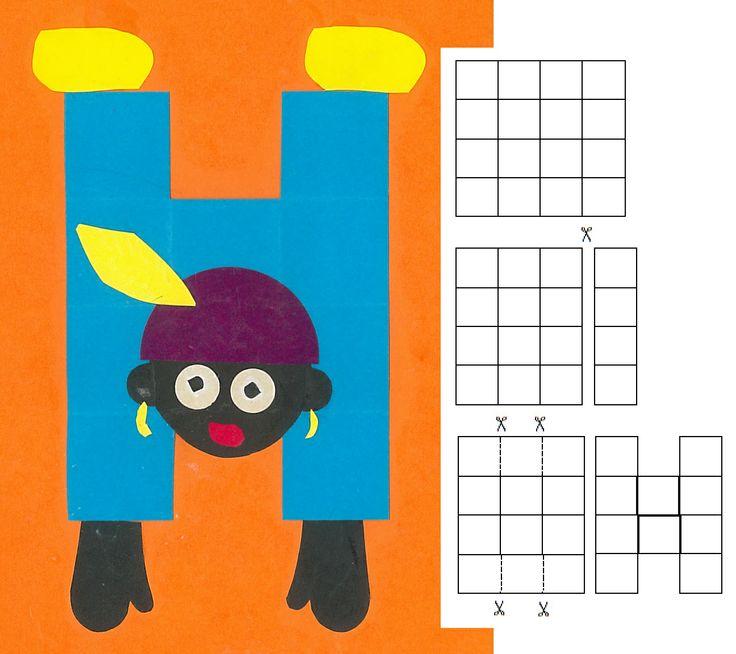 Zwarte piet loopt op zijn handen. 16 vierkantjes