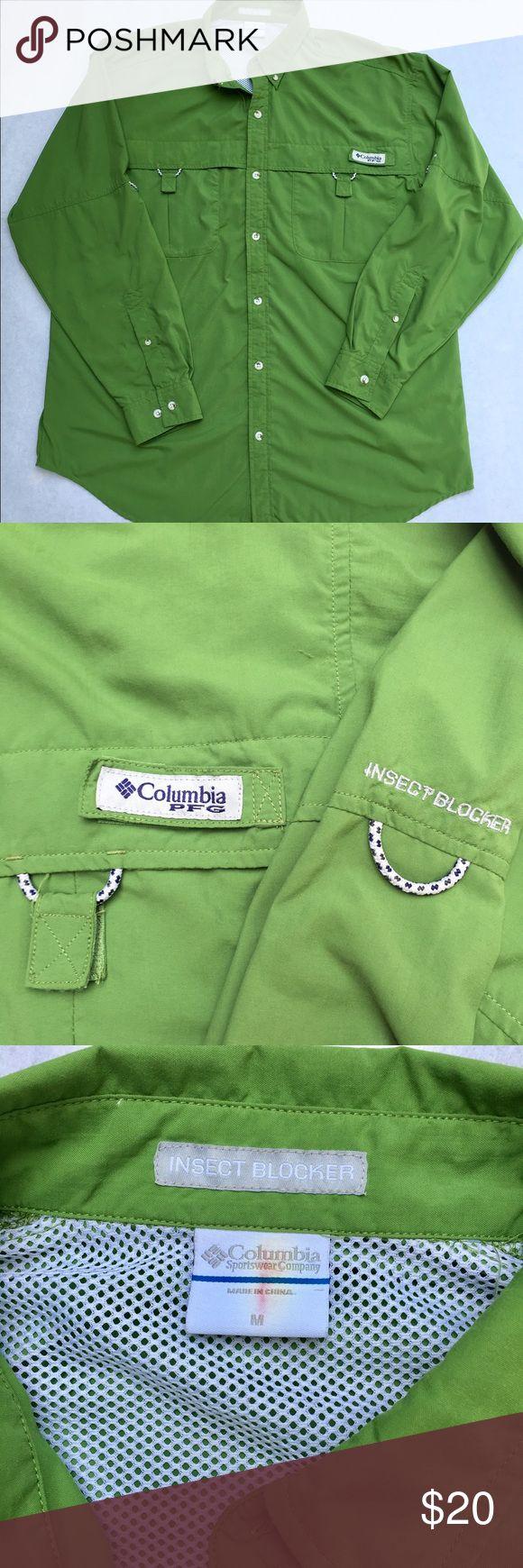 Columbia Fishing Shirt - Medium Green Columbia Performance Fishing Gear Shirt Columbia Shirts Casual Button Down Shirts