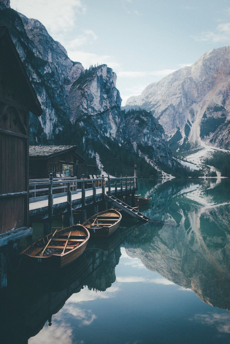 Boathouse at the Lago Di Braies, Dolomiti Mountains, Italy ♡