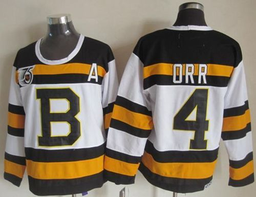 "$34.88 at ""MaryJersey""(maryjerseyelway@gmail.com) Bruins 4 Bobby Orr White CCM Throwback 75TH Stitched NHL Jersey"