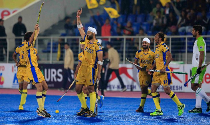 #SandeepSingh #celebrates after #completing #hattrick against #DelhiWaveriders