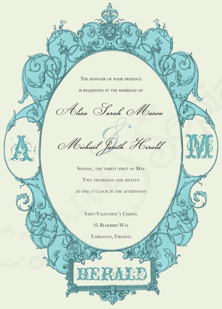 Printable Wedding Invitation - 5x7 -Antique Aqua Frame : cyanandsepia.etsy.com : $15.00