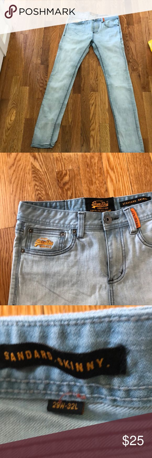 Men's super dry skinny jeans light wash size 29/32 These are men's super dry light wash standard skinny jeans size 29/32  worn twice no stains no rips no marks from a pet free smoke free home Superdry Jeans Slim Straight