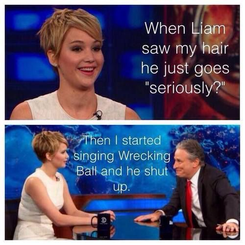 I love Jennifer Lawrence and I love the smirk on Jon Stewart's face :-)