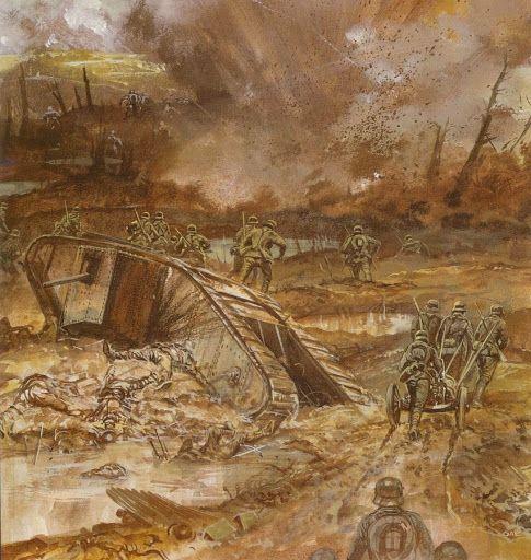 Contraataque de las tropas de asalto alemanas en Cambrai, los alemanes con sus n…