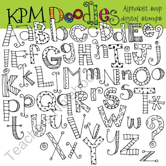 Alphabet Soup black line digital stamps from kpmdoodles on TeachersNotebook.com (55 pages)