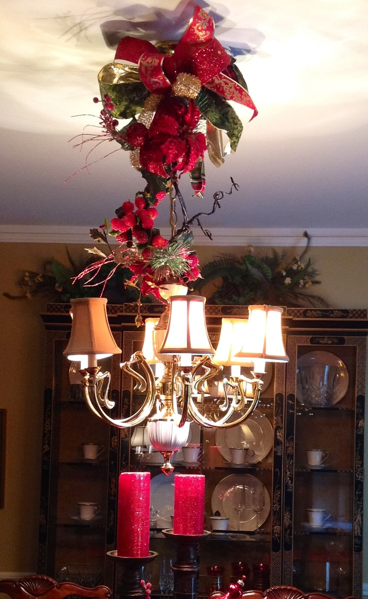 Best 25 christmas chandelier decor ideas on pinterest christmas chandelier decorated with christmas ribbons arubaitofo Gallery