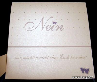 """Hochzeitseinladung """"NEIN"""" flieder&weiß - Einladungen für die Standesamtliche Trauung?"""