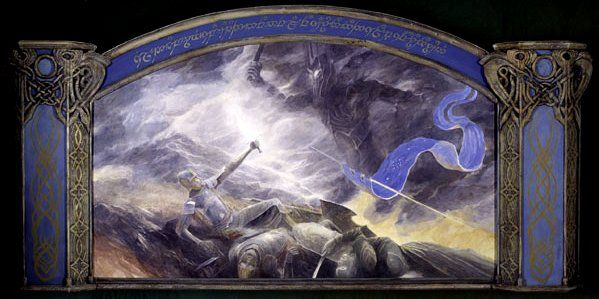 "Rivendell mural - Tengwar inscription reads: ""Isildur brings about the downfall of Sauron on the  slopes of Orodruin""  Designed and painted by Alan Lee"