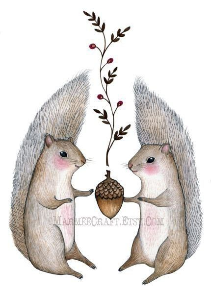 A lot of new trees come from squirrels forgetting where they put their nuts, So cute!