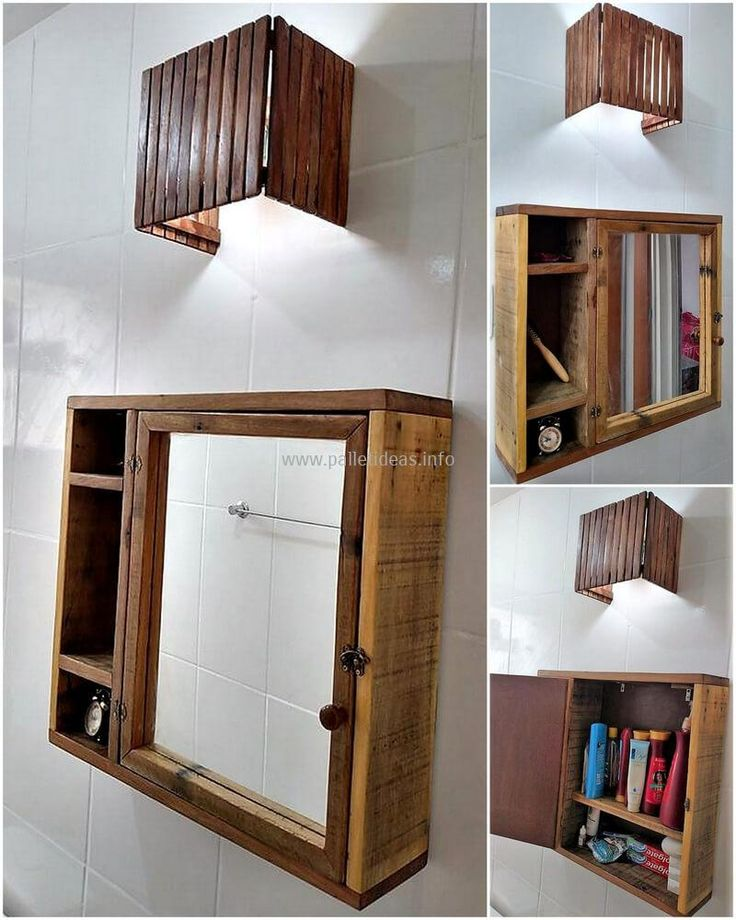 wood pallet mirror cabinet and wall light art