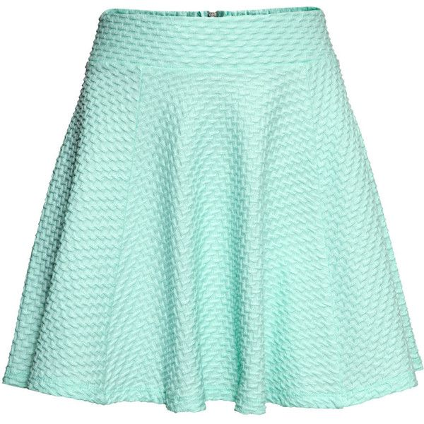 H&M Jersey skirt ($17) ❤ liked on Polyvore featuring skirts, mini skirts, bottoms, saias, faldas, mint, short circle skirt, short skirts, jersey skirt and green mini skirt