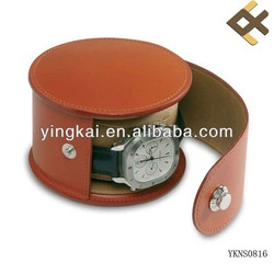 Brown Pu Leather Cylindrical Watch Box - Buy Leather Watch Box,Single Watch Box,Antique Watch Box Product on Alibaba.com
