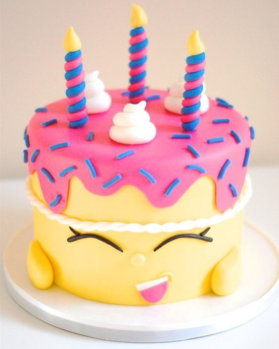 Simply adorable Shopkins inspired birthday cake