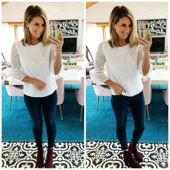d30e0919c137 Winter Fashion // How to Style a White Top // Lace Top with Skinny Jeans  and Ankle Booties // Warm Skinny Jeans // Casual New Years Eve Outfit //  White Lace ...