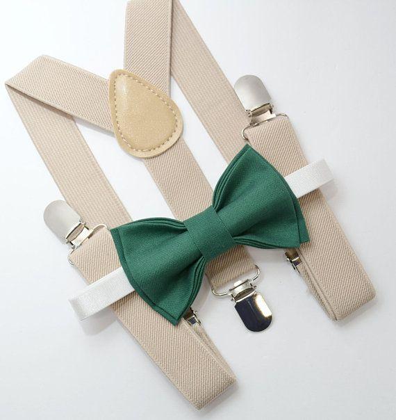 95ceb9c5a7f Bow Tie   Suspenders SET   Juniper Green Bow Tie   Light Tan Suspenders    Kids Mens Baby Wedding Page Boy Set 6 months - to Adult Set