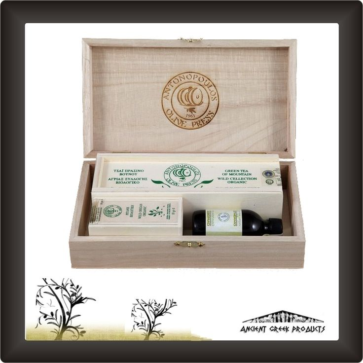 Gift packs – Configurations - Wooden case with mountain tea. Oragno wildlife collection and unheated olive oil