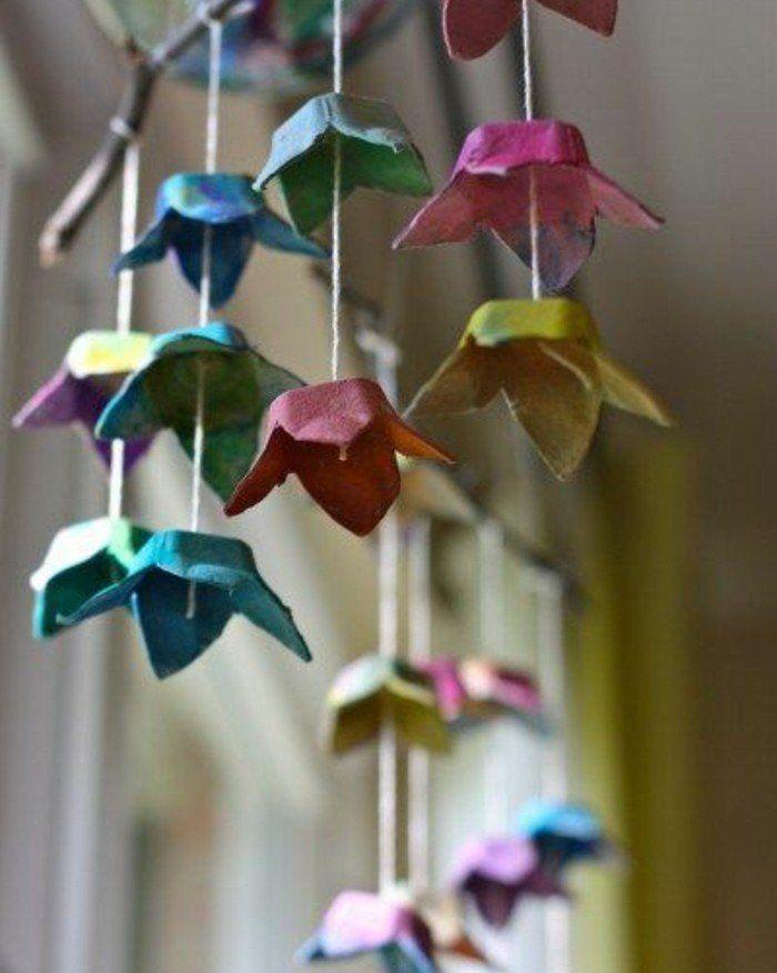 guirlande composée d'alvéoles boite à oeufs, colorés à la peinture, idée activité manuelle printemps adultes et enfants
