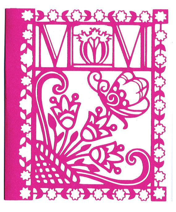Papercut Mother's Day card/silhouette flower by cwagenblass9, $5.00: